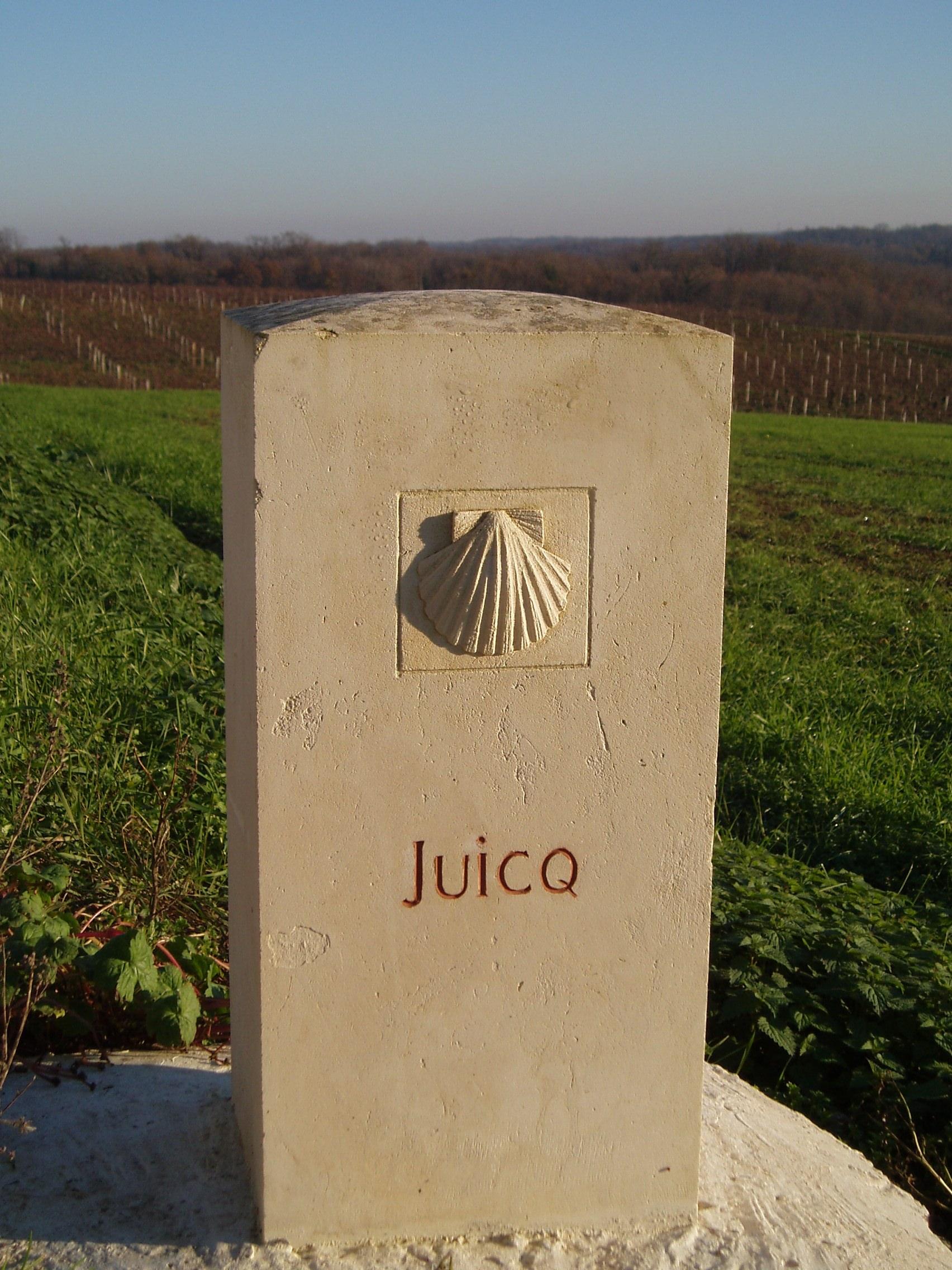 borne sur le Chemin de Saint Jacques de Compostelle